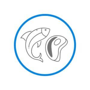 95% mięsa lub ryb